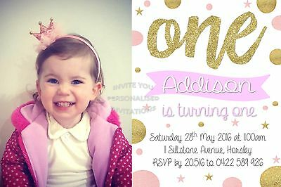 Girls Birthday One First Glitter Pink Gold Invite Invitation Party Spots