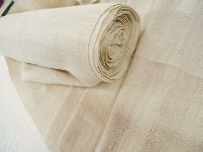 FINE WEAVE Vtg Antique ORGANIC HEMP fabric BOLT UPHOLSTERY LINEN 1 YD No Stripe
