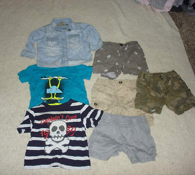 Nice Lot Of 7 Boys Baby Clothes Shorts Shirts Denim Quicksilver H&M Old Navy 6 M
