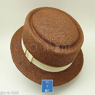 WHOLESALE LOT 5pcs Summer Straw Pork Pie Hat Women Soft Fedora Boater Hat Brown