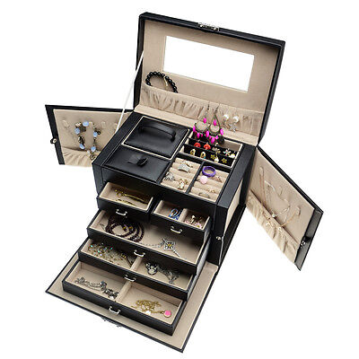 Black Leather 5 layers Jewelry Box Storage Organizer+Mini Travel Case and Lock