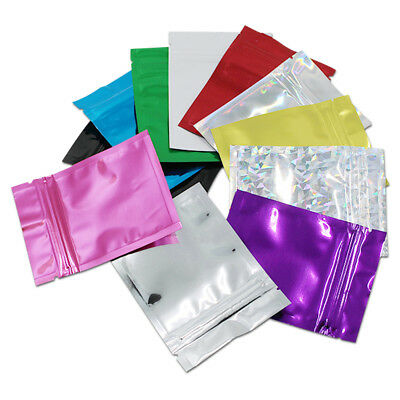 Colorful Glossy Flat Aluminum Mylar Foil Retail Zip Lock Bags Food Grade Pouches