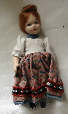 Miniature Porcelain Doll - White Top With Flowered Skirt- New