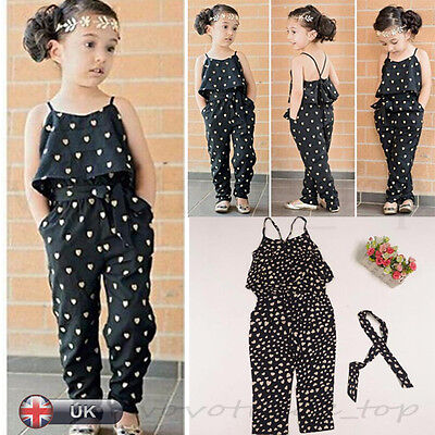 New Summer kids Girls Set Straps Rompers Jumpsuits Piece Pants Clothing Clubwear