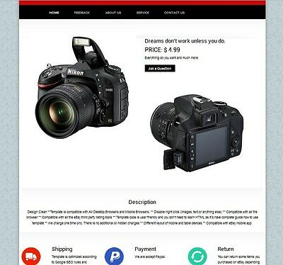 Auction Ebay listing Template HTML  Professional Responsive Mobile