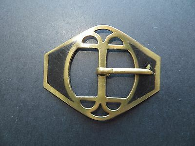 1920s Antique Authentic Art Deco Cut-out Black Ladies Buckle-in Brass 5cm x 4cm