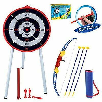 Childrens Kids Toy Bow & Arrow Archery Set And Target Outdoor Garden Fun Game
