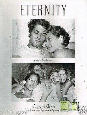 Publicité advertising 2002 Parfum Eternity Calvin Klein avec Christy Turlington