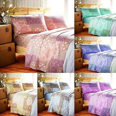 New Brushed Cotton Flannel Fitted & Flat Sheet With Pillowcase Set Summer Colors