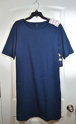 XL NWT WOMEN/'S TOMMY HILFIGER CORE NAVY FASHION CASUAL SHIRT DRESS SIZE L