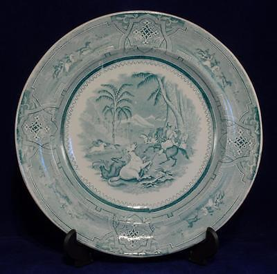 Early Victorian Plate Riders Catching Horses marked Julian Mattei Cardiff