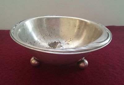Antique Silver Plated Brass/Copper Round WMF Serving Footed Candy Bowl/Dish