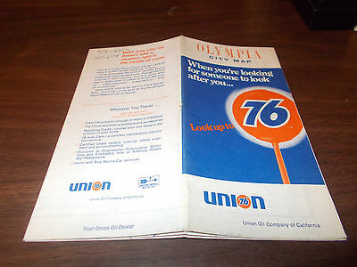 1969 Union 76 Olympia Vintage Road Map