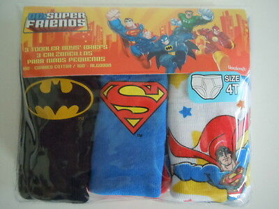 Dc Super Friends Super Heroes Superman & Batman Toddler Boys'briefs Size 4T  Wow
