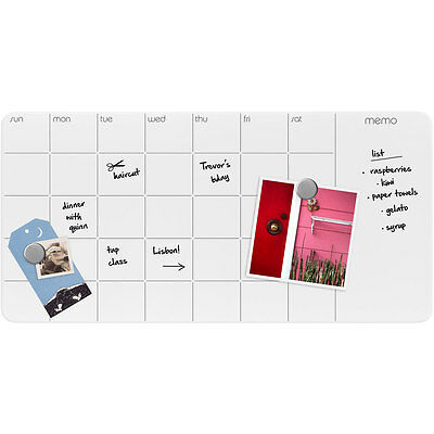 Dry-Erase Magnetic Glass Monthly Planner and Memo Board