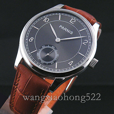 44mm NEW Parnis gray dial Hand Winding 6498 movement  Wristwatch Leather strap