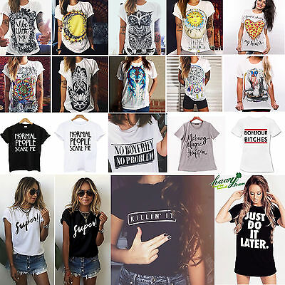 2016 Fashion Womens Summer Tops Loose Tee Short Sleeve T shirt Casual Blouse