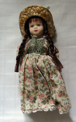 Miniature Porcelain Doll - Flowered Dress  And Straw Hat New