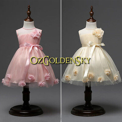New Baby Flower Girl Dress Lace Vintage Floral Tulle Wedding Birthday Party