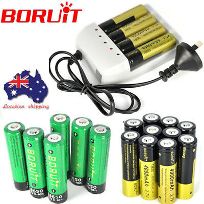 Rechargeable BORUiT 2/4/10 Li-ion 4000mAh 3.7V 18650 Battery For Headlamp Torch