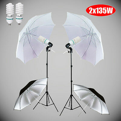 Photography 270W Soft Umbrella Light Bulb Studio Continuous Lighting Stand Kit