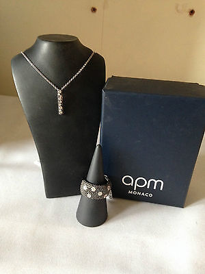 APM Monaco Silver with Black & White CZ Necklace & Ring Set