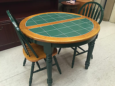 nice pine country cottage tiled extending round green kitchen table. Interior Design Ideas. Home Design Ideas