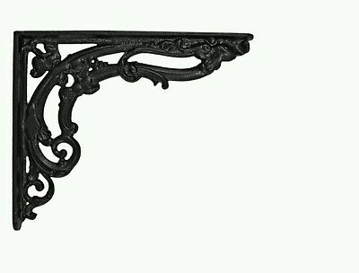 -3x Cast In Style Victorian Scroll Bracket Black medium