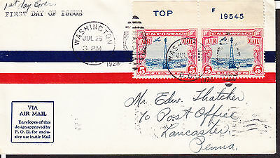 C11 Pair-NC w/Top and Plate No. on Selvage on Airmail Envelope 5c Beacon Issue