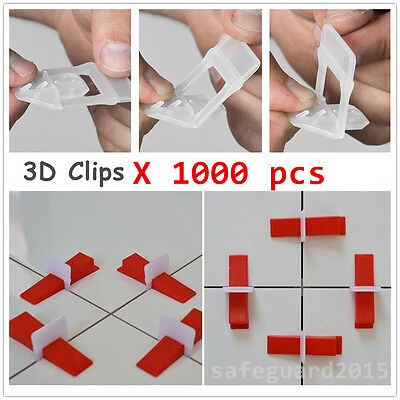 1000pcs 3D Clips Tile Leveling System Tiling Spacer Floor Wall Lippage Free Tool