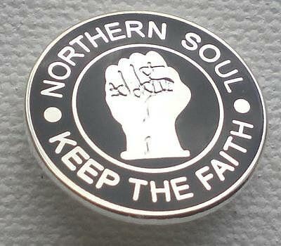 Northern Soul Badge - 18Mm Dia - Keep The Faith - Silver - Black