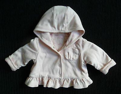Baby clothes GIRL newborn 0-1m Matalan pink soft velour hood jacket lined padded