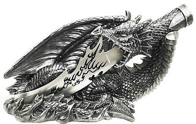 "Fire Ancient Dragon Fantasy With Stainless Steel Dagger Letter Opener 13"" Long"
