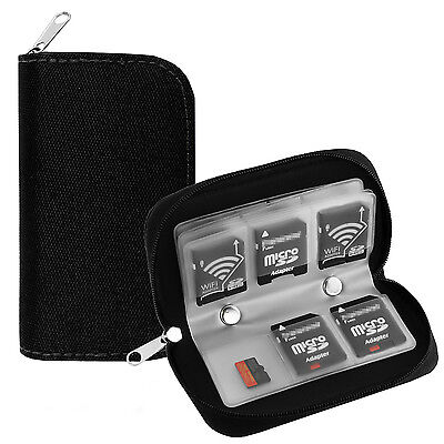 22 Slots Memory Card Carrying Case Holder Pouch for SD SDHC MMC Micro SD - Black