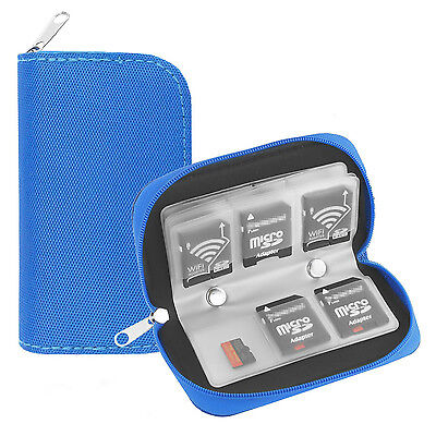 22 Slots Memory Card Carrying Case Holder Pouch for SD SDHC MMC Micro SD - Blue