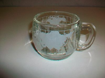 Vintage NESTLE Clear Glass Mug Cup w/ Etched World Map Nescafe
