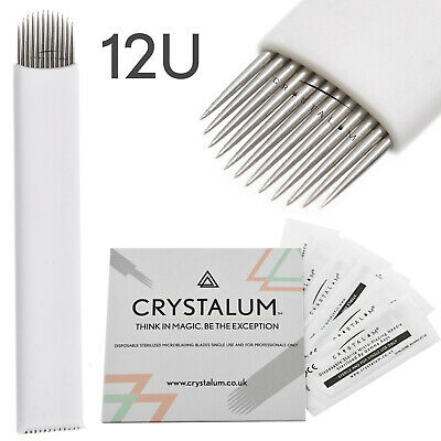 Microblading Blades Needles 12U Shape Makeup Manual Eyebrow Tattoo CRYSTALUM