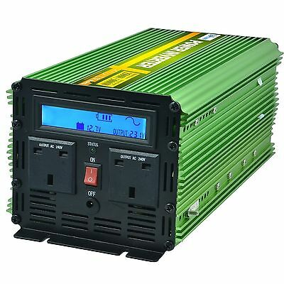 Generic Pure Sine Wave Power Inverter Green 1500W AC 240V DC 12V LCD Remote
