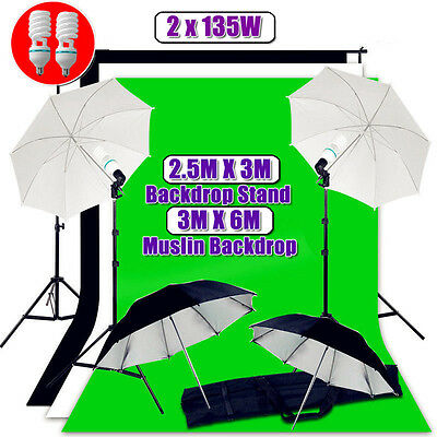 Photography Photo Studio Continuous Umbrella Lighting Light Stand 3 Backdrop Kit