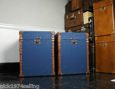 Royal Blue Pair of Millerain Campaign Trunks Trimmed In Vegetable Tan Leather
