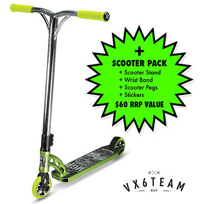 2016 MADD GEAR MGP VX6 Team Scooter Complete GREEN + $60 SCOOTER PACK
