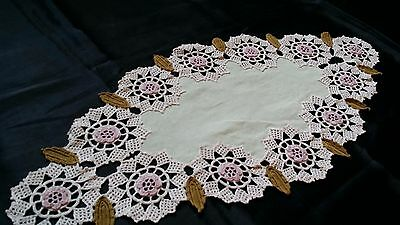 Hand-Knitted Vintage Cotton Crochet Ecru Floral Tablecloth