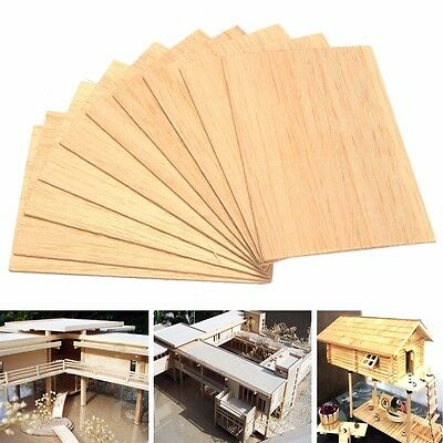 10Pcs Wooden Plate Model Balsa Wood Diy House Ship Aircraft Light 150x100x2mm