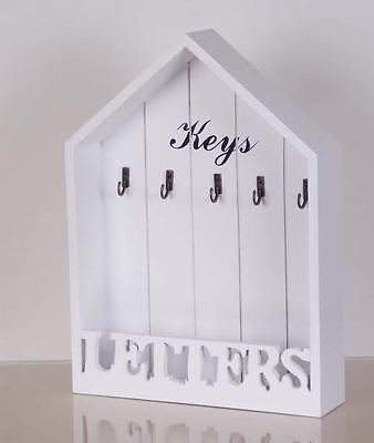Shabby Chic Style House Shaped Key Storage and Mail Organiser