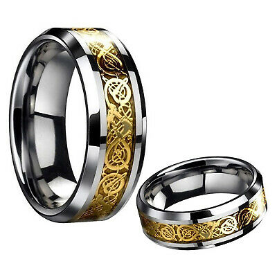 Dragon Scale Beveled Edges Celtic Rings Jewelry Wedding Band For Men Gold PK