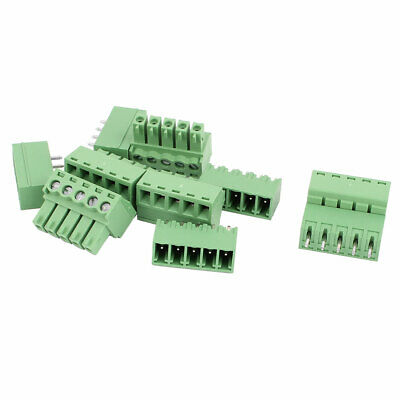 5 Pairs Green 5P 3.81mm Spacing PCB Screw Terminal Block Connector 300V 8A