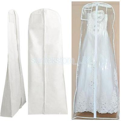 Wedding Bridal Prom Dress Garment Cover Suit Protector Zip Bag Clear/white