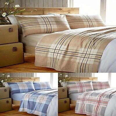 Multi Checks Stripes Cotton Flannel Fitted & Flat Sheet Set Single Double King