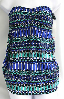 Liz Lange Maternity Target Blue Teal Swimsuit Set Ruched Sides NEW