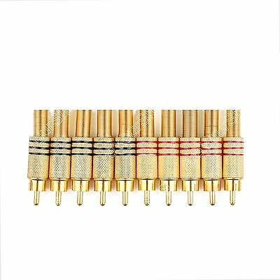 10 PC Gold Plated RCA Plug Audio Male Connector W Metal Spring